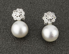 White gold earrings with brilliant cut diamonds and salt water cultured Australian South Sea pearls