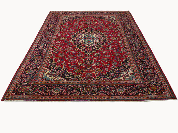 v ritable tapis persan nou la main kashan iran rouge 287 x 193 cm tapis d 39 orient en. Black Bedroom Furniture Sets. Home Design Ideas