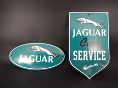 2 Original Metal Jaguar Enamel Metal Green and White Company Signs in Excellent Condition
