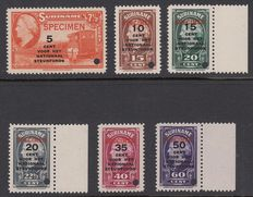 Suriname 1945 – Queen Wilhelmina – NVPH 214/219 specimen stamp overprint and perforation hole.