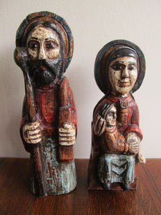 Polychrome wooden Saints Family - Spain - early 19th century
