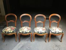 A set of four Louis Philippe walnut ballon back chairs - Italy - second half 19th century