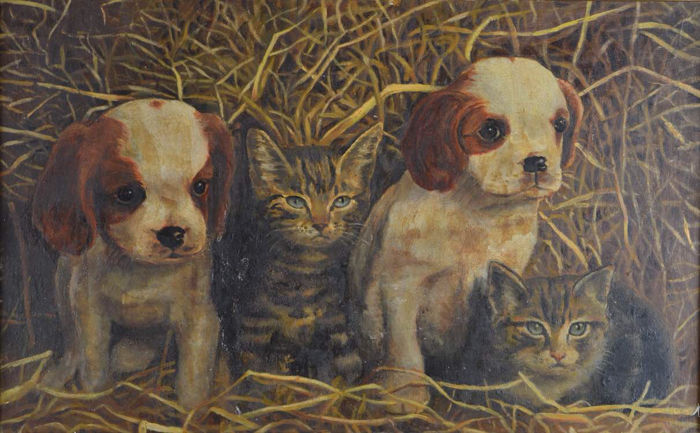 Unknown (Early 20th Century) Puppies And Kittens In A Barn  Catawiki