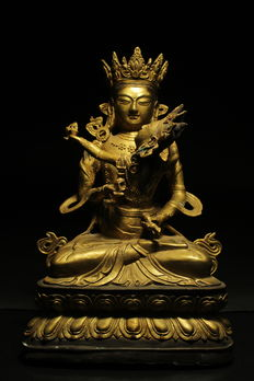 Large gold-plated bronze Buddha Vajrasattva an his wife - Chino-Tibetan - second half of the 20th century