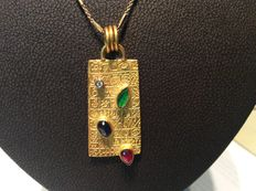 Pendant made of yellow gold set with ruby, sapphire and emerald
