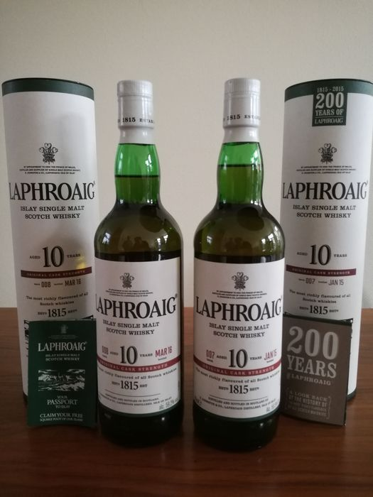 2 bottles - Whisky Laphroaig 10 years old Cask Strength - batch 007 + 008