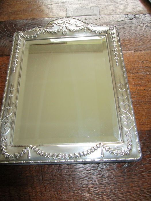 Mirror with silver frame, large format, Fa. Carrs of Sheffield, 1994