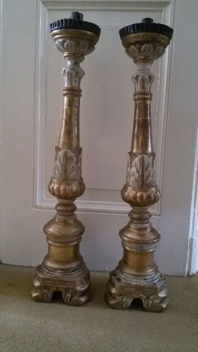 Pair of large wooden, gilded antique candlesticks - XVIII Italy