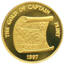 Samoa - 10 Dollars 1997,  Gold of Captain Flint , 1/25 oz.  goud