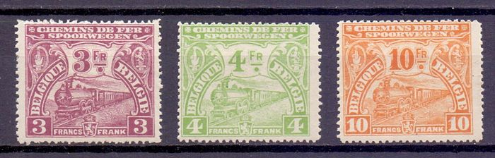 Belgium - 1920 - Composition of 3 higher value stamps from