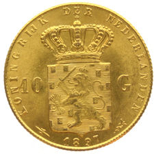The Netherlands – 10 guilders 1897 (restrike) Wilhelmina – gold