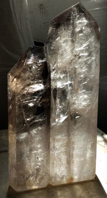 Huge rock-crystal and smoky quartz twin - 460 mm high - 14.5 kg