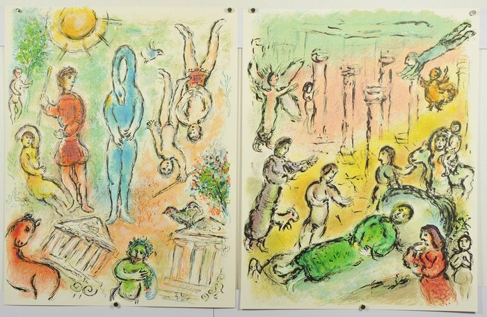 4 x Marc Chagall - In Hell, and Ulysses' Bed, Penelope and Ulysses' Bow, and Theoclymenus