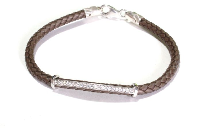 New bracelet, made in Italy, in 14 kt white gold and 0.35 ct of diamonds - 21 cm