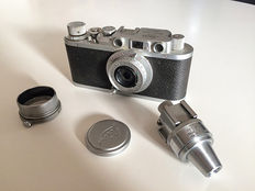 Leica II Chrome 1937 with VIDOM viewfinder, FISON lens hood and lens cap