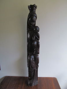 Large wooden sculpture of Madonna and Child, 1 meter high - Spain - around 1900