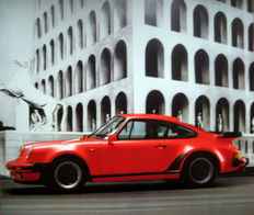 Origineel Porsche Affiche/Poster 1989 - Porsche 911 Turbo Coupe Red
