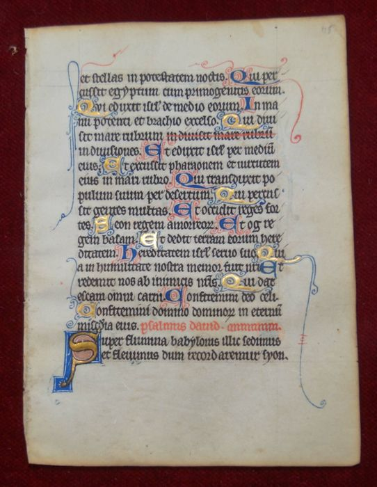 Manuscript; Illuminated handwritten page from medieval  book of hours - Metz / France - [c. 1300]