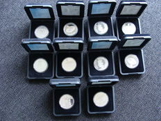 Netherlands – 10 guilders 1994 and 1999 Beatrix (10 x) – silver