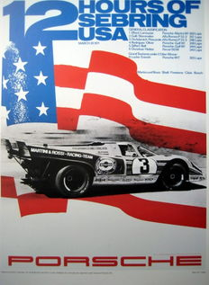 Beautiful Poster/Affiche : Porsche 12 Hours of Sebring USA 1971