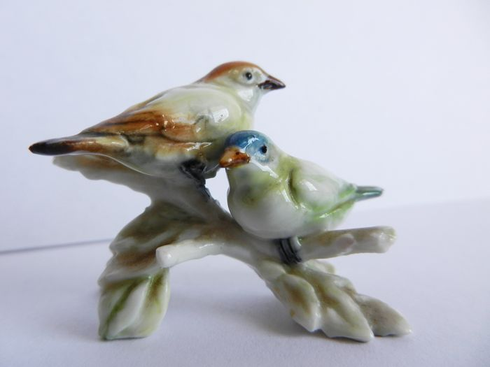 Cacciapuoti manufactory - Pair of birds on a tree and pair of owls, painted porcelain
