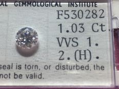 Diamond 1,03 round brilliant cut H / VVS 1 IGI certificate