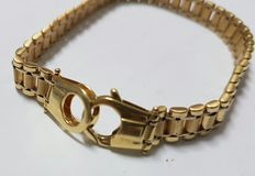18 kt geelgouden armband, oyster schakels