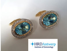 Exclusive cufflink set with Diamonds and blue Topaz – 36.65 ct – Certified 3x