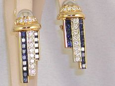 Very special diamond 2,85ct. and sapphire 2,52ct. earrings