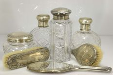 Toilet set in sterling silver and cut Crystal - Seven pieces, Spain, beginning of 20th century