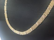 Beautiful yellow-white 14 kt gold choker in excellent condition from the 2000s - length: 45 cm