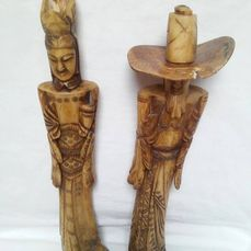 Pair Of Carved Bone Emporer And Empress Figurines China Catawiki
