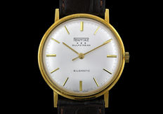 "Pontiac 'Gulfstream"" Rare 18kt Gold Men's Classic  Watch-with a Surprise Typo- on a Leather Strap, As New! (1970's)"
