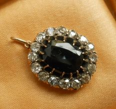 Antique Gold Pendant with 1.90 Old cut Diamonds and 3.50 ct Genuine Sapphire