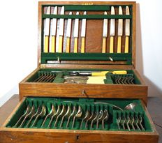 Case with 66-piece silver plated cutlery - English - ca. 1930