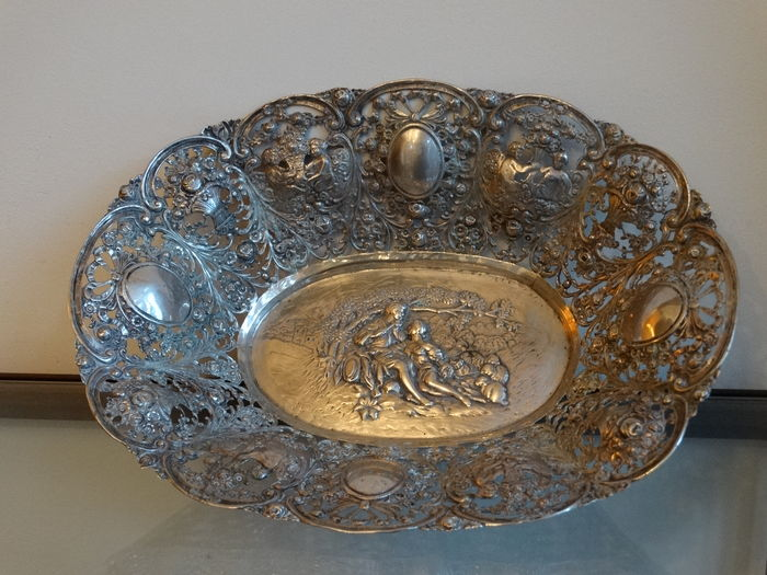silver basket, bread basket, bread bowl or fruit bowl, Germany, ca. 1900