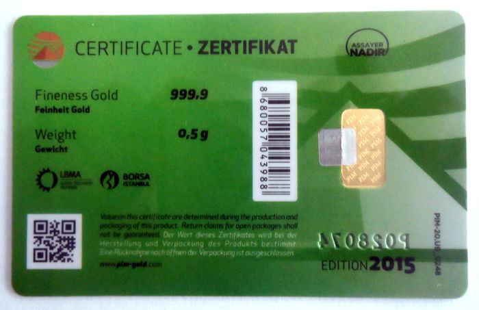 2 pieces Nadir PIM gold bar each 0.5 g fine gold - purity of 999.9 ...