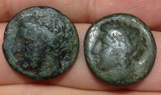 Greek Antiquity - Lot of 2 AE coins from Sicily, Syracuse, Agathokles, 317-289 BC: Head/Bull, Head/Pegasus
