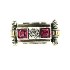 Antique French diamond and verneuil ruby Art Deco gold ring