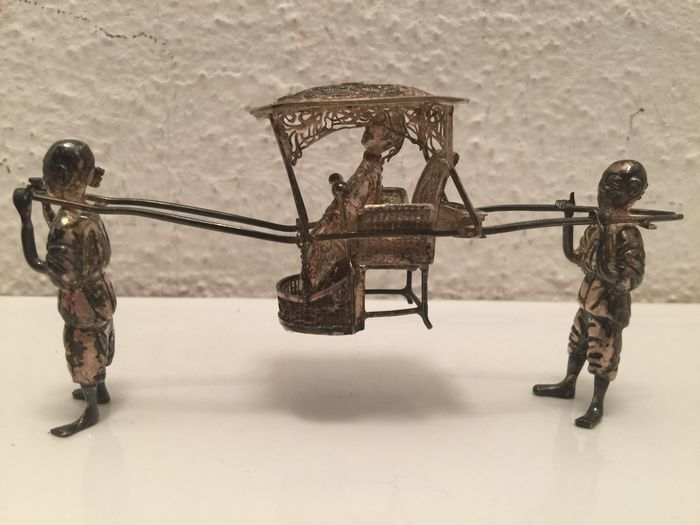Silver cart with two carriers Wing on Co Shanghai ca. 1900