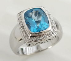 Gold Ring 14k Blue Topaz & Diamonds, 11.00 gr,  total 3.12 ct -Ring Size 17.5/55mm/7.25us.
