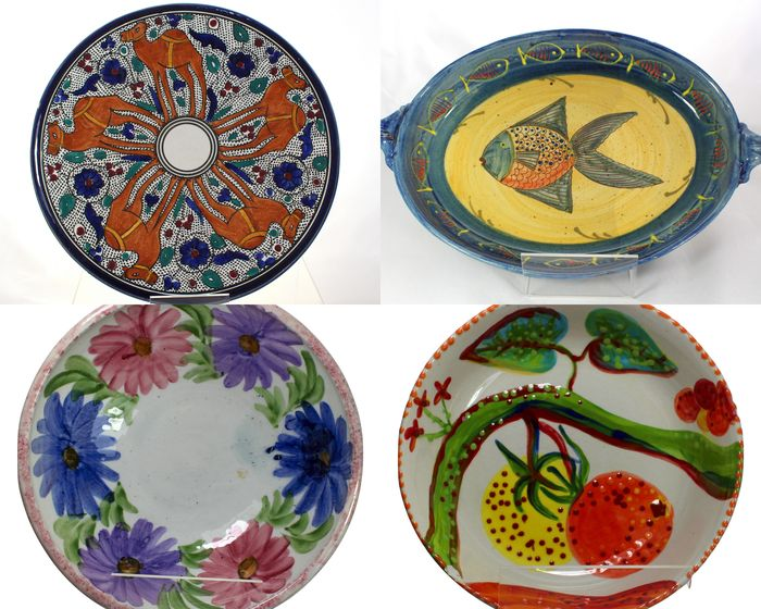 Mixed Lot of Very Decorative Majolica Plates, Bowls and Dishes