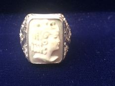 Ring in 925 silver with handmade cameo – early 1900s –
