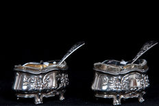 Two solid silver salt cellars with two salt spoons, France, ca. 1880