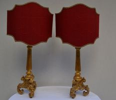 A pair of Baroque style table lamps in carved and gilded wood - Italy - early 20th C