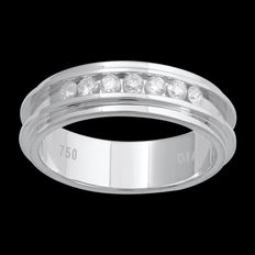Wedding band set with diamonds, 0.25 ct total set in a channel setting with bevelled edges.