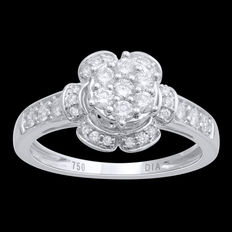 No reserve price, brand new 0.50ct flower shaped cluster engagement ring, G colour, SI clarity, size 54/N set in 18kt white gold