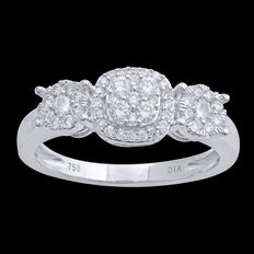 18 kt white gold vintage style cluster diamond engagement ring 0.50 ct total weight, size 54/N (free resizing in Antwerp)