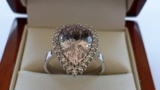 3.90 ct Natural Pink Morganite Diamond Ring in 14k Solid White Gold with CGL Certificate.