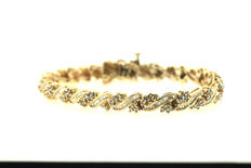 Brilliant bracelet (approx. 10 ct), brilliants 417 / 10 kt yellow gold, 18.5 cm, 15.63 g